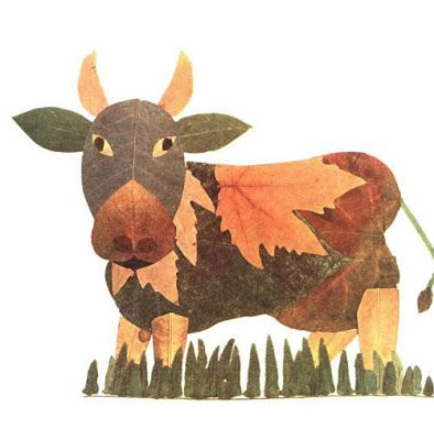Creative Leaf Animal Art - Leaf Cow