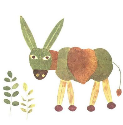 Creative Leaf Animal Art - Leaf Donkey