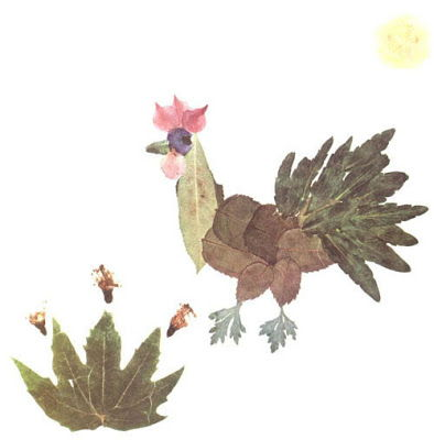 Creative Leaf Animal Art - Leaf Rooster