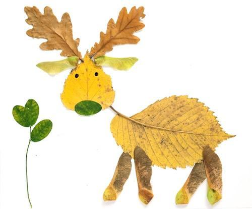 Creative Leaf Animal Art - Leaf Reindeer