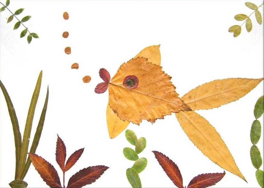 Creative Leaf Animal Art - Leaf Goldfish