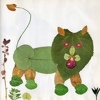 Creative Leaf Animal Art - Leaf Lion