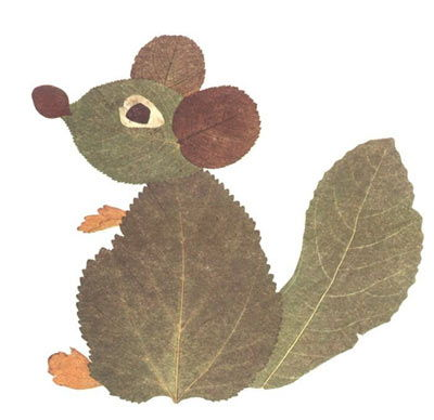 Creative Leaf Animal Art - Leaf Mouse