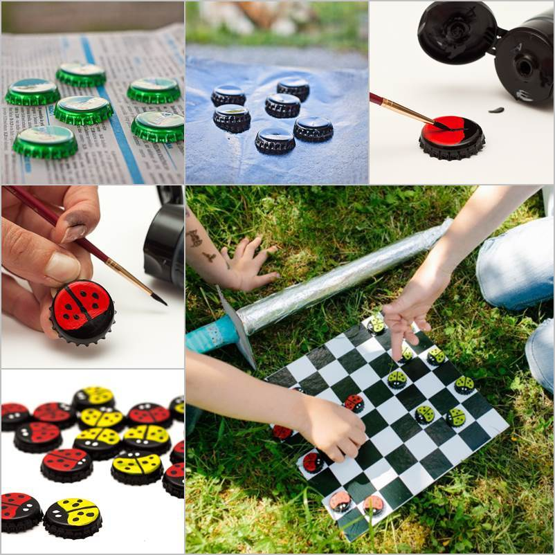 DIY Board Game with Bottle Cap Checkers thumb