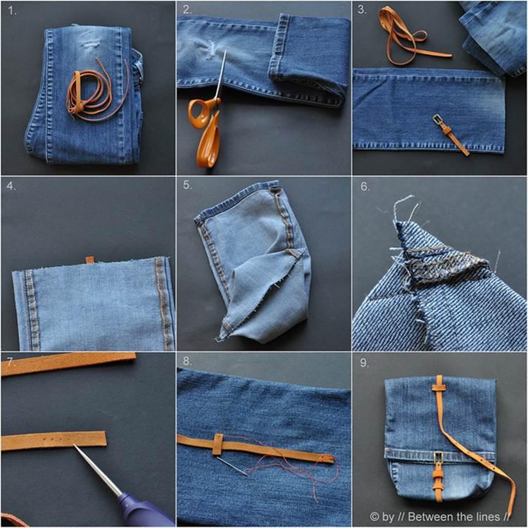 DIY Cute Denim Snack Bag from Old Jeans