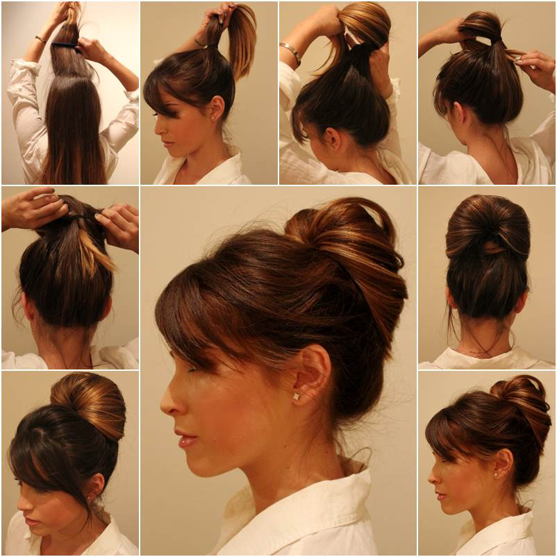 Diy elegant inside out ponytail bun hairstyle Diy fashion of hairstyle