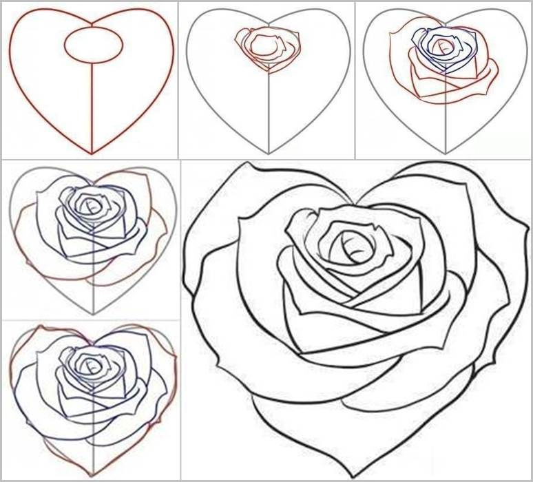 how to draw a rose from a heart