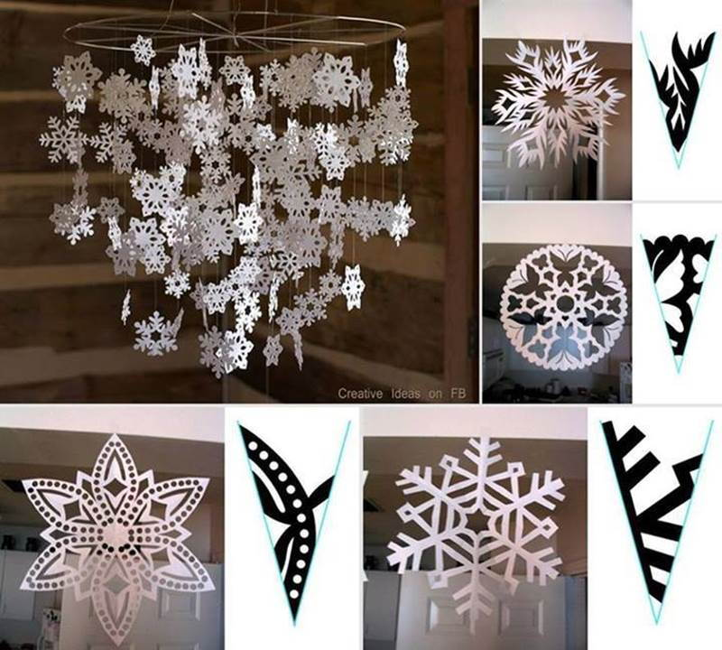 Creative Ideas Diy Beautiful Paper Snowflake Mobile From Template