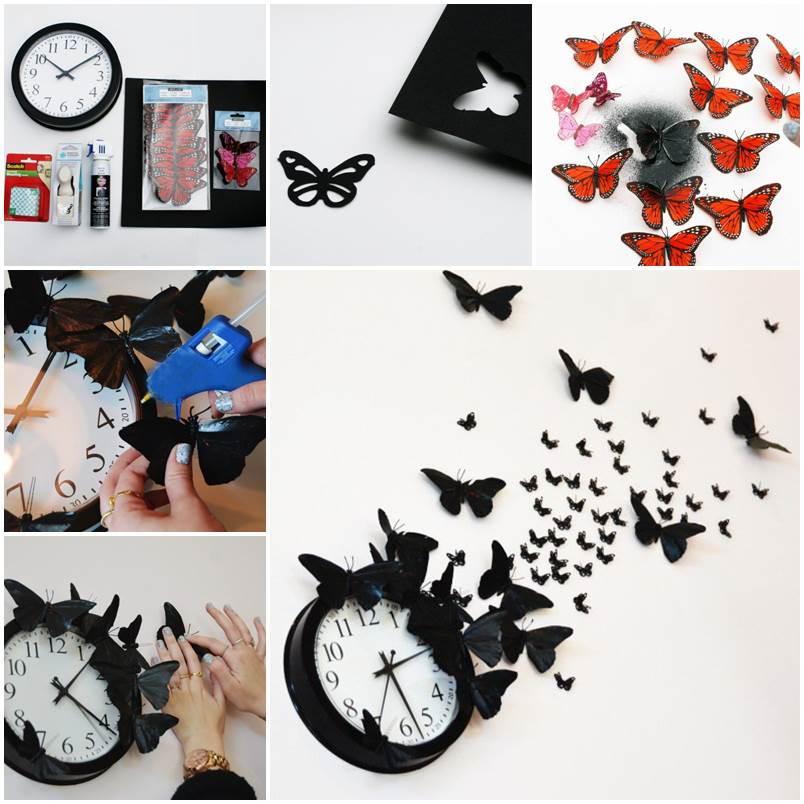 Elegant Creative Ideas   DIY Butterfly Clock Wall Art