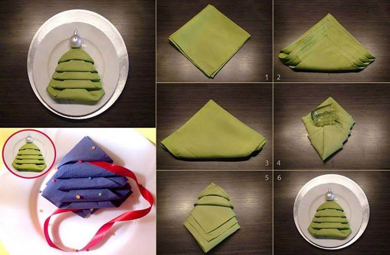 Creative Ideas Diy Christmas Tree Napkin Fold