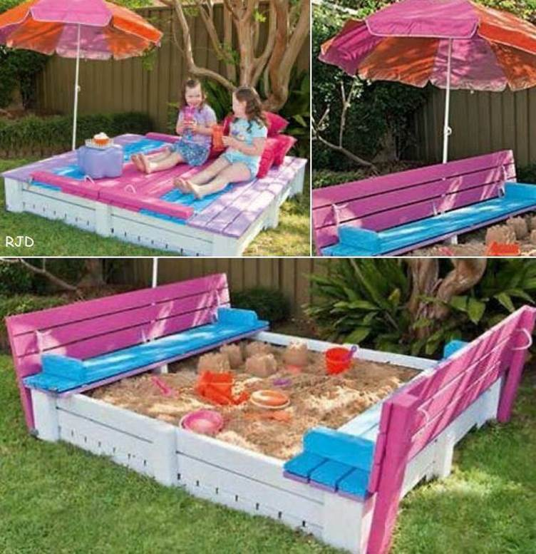 Creative Ideas - DIY Covered Sandbox With Benches