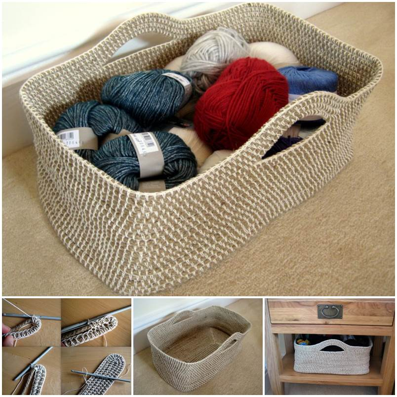 Creative Ideas – DIY Crochet Rope Basket