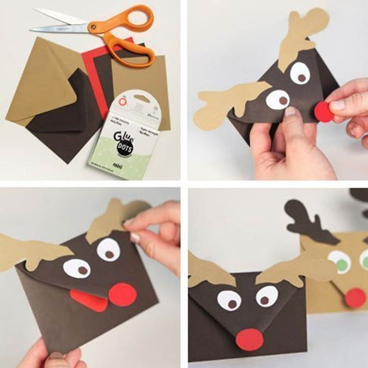 creative ideas diy cute rudolph reindeer envelopes