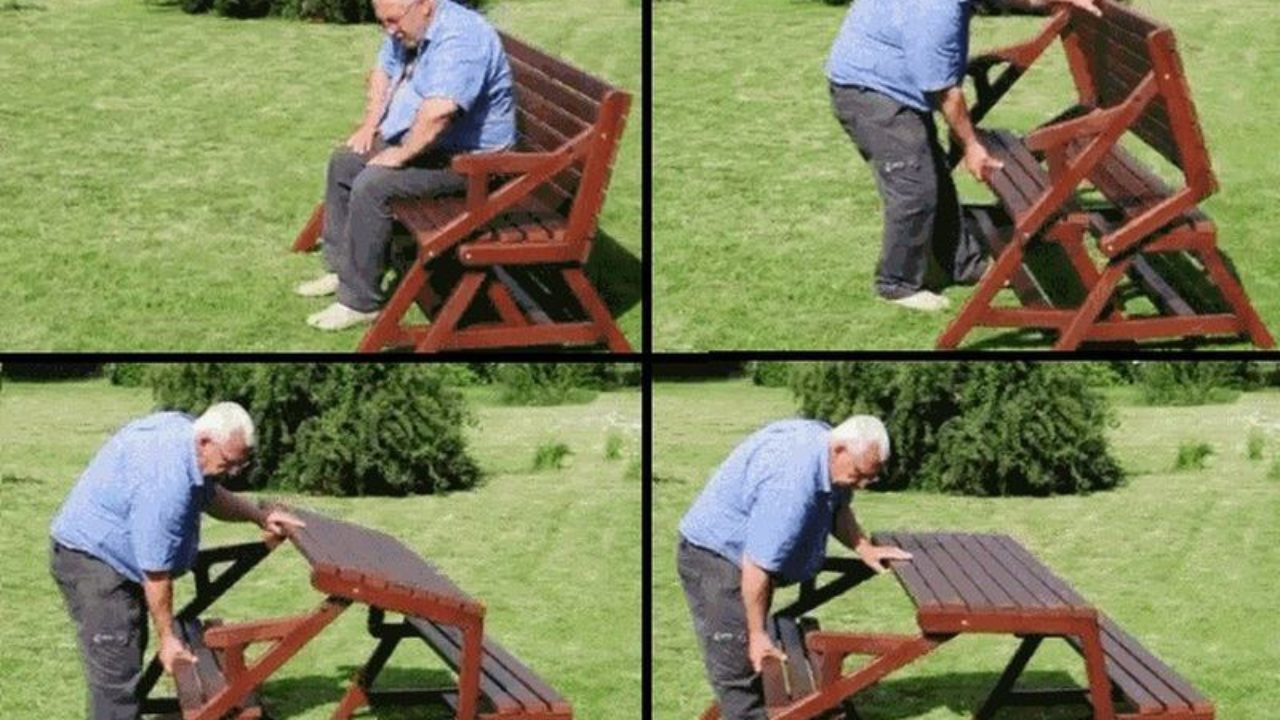 - Creative Ideas - DIY Folding Bench And Picnic Table Combo