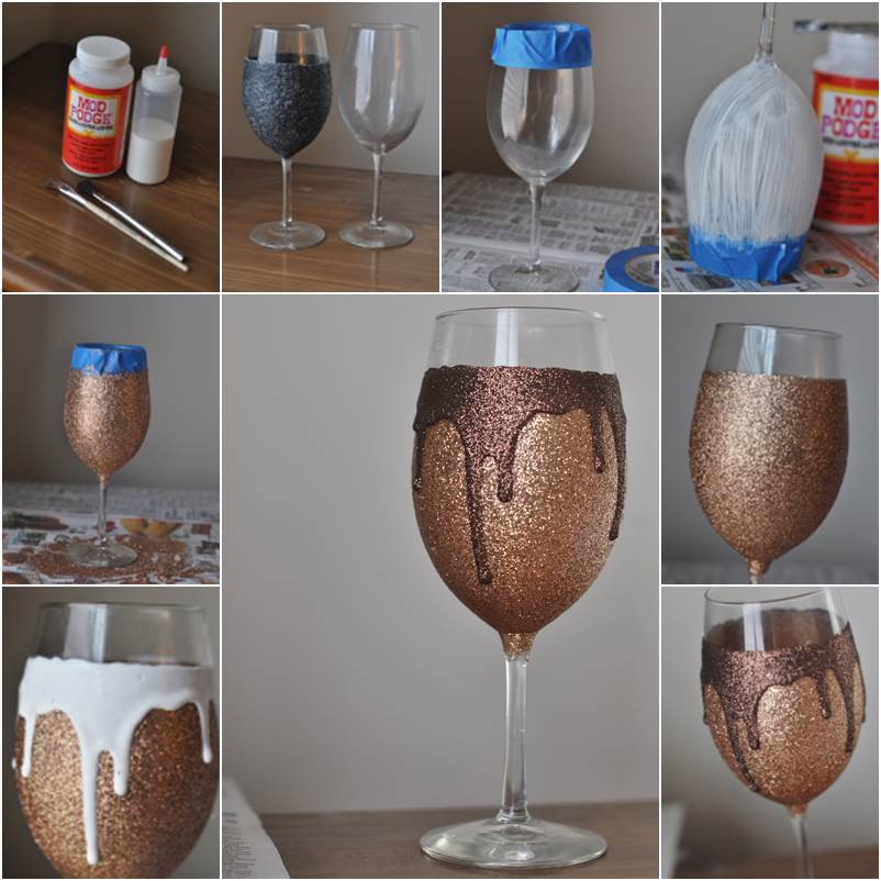 Creative ideas diy glitter drip wine glasses How to make wine glasses sparkle