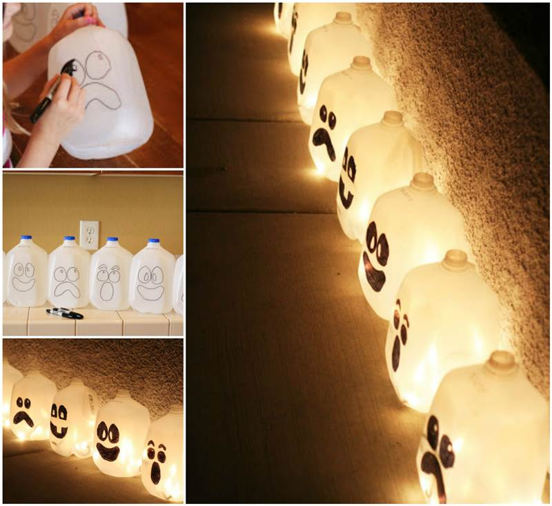 Creative ideas diy halloween lanterns from milk jugs for Drawing decoration ideas