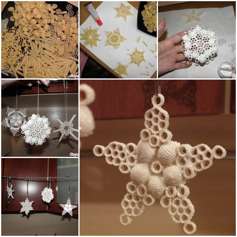 Creative Ideas DIY Pasta Snowflake Ornaments