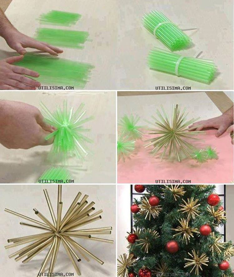 creative ideas diy plastic straw christmas ornaments