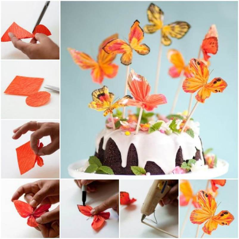 Diy easy folded paper butterflies for Butterflies for crafts and decoration