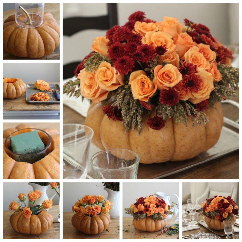 Thanksgiving Home Decor Ideas: DIY Pumpkin Vase Thanksgiving Centerpiece