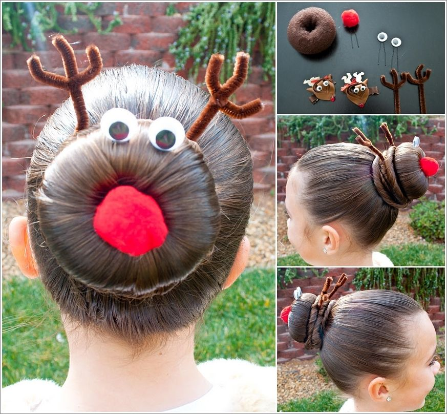 Creative Ideas - DIY Rudolph the Reindeer Bun Holiday Hairstyle