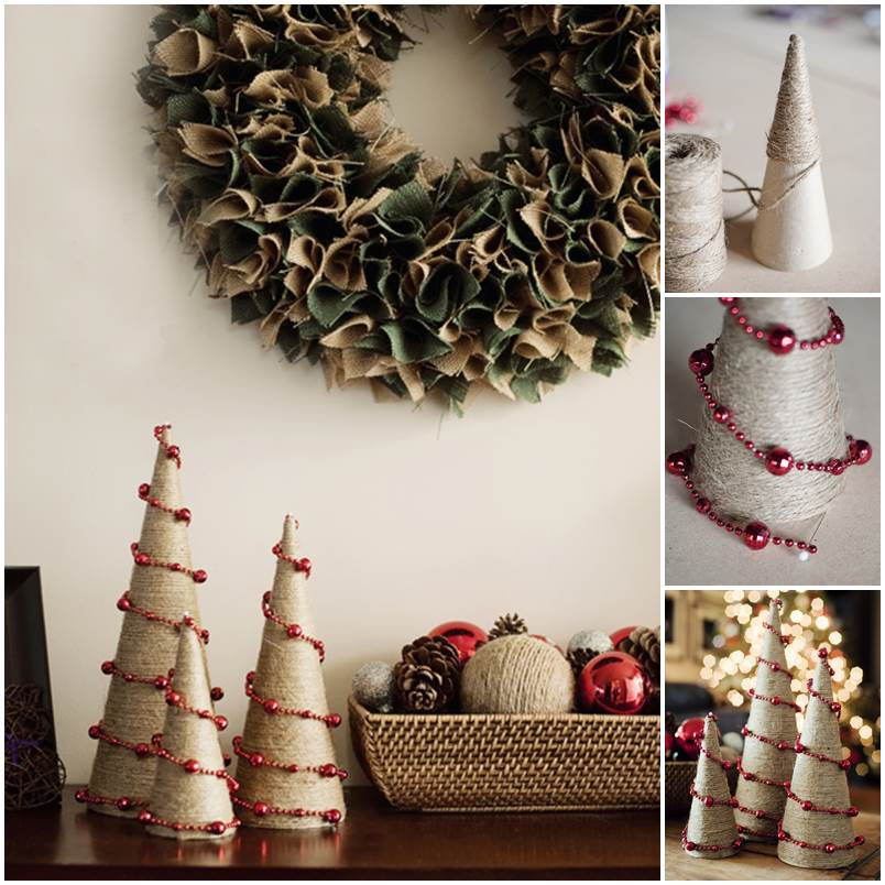 DIY Twine And Bead Christmas Trees