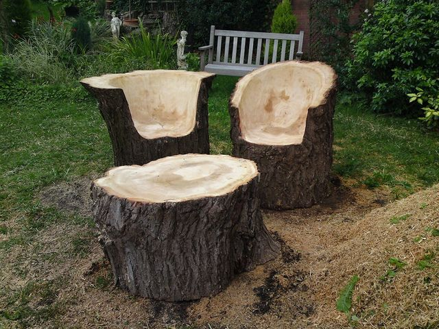 Stunning Tree Trunk Garden Furniture