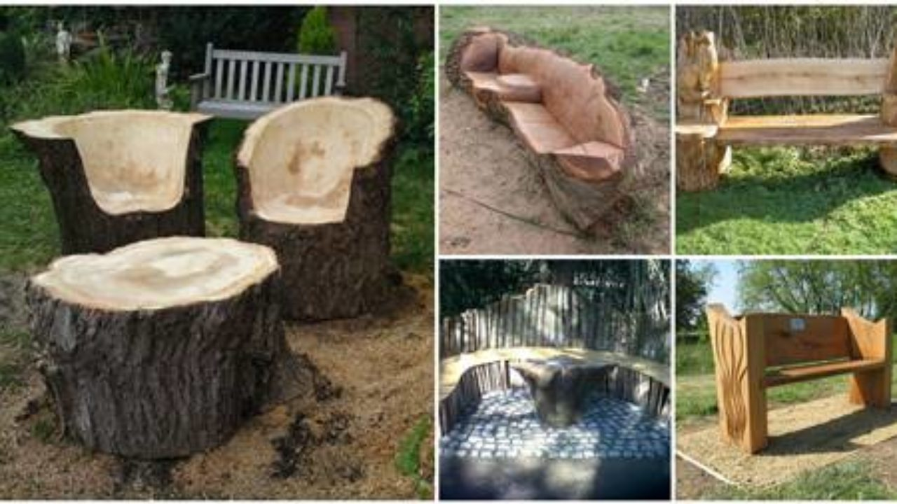 Creative Ideas Stunning Tree Trunk Garden Furniture