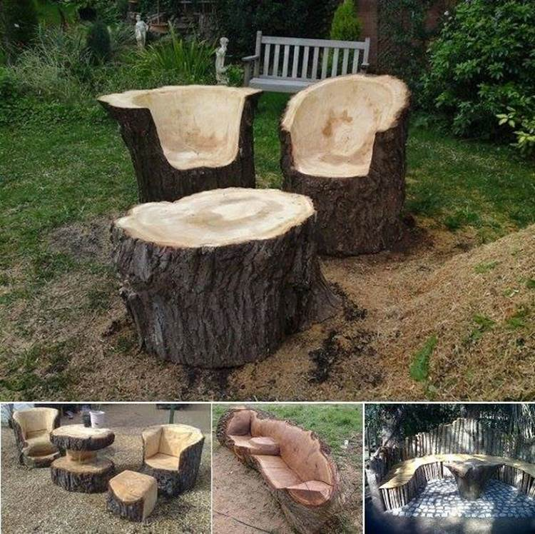 Creative Ideas - Stunning Tree Trunk Garden Furniture