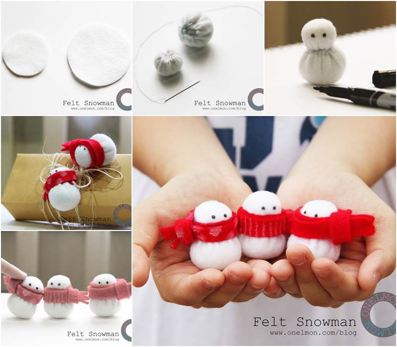 Creative Ideas – DIY Adorable Mini Felt Snowman Christmas ...