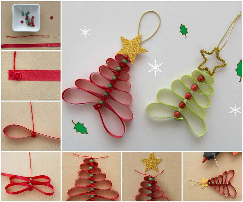 Adorable Ribbon and Beads Christmas Tree