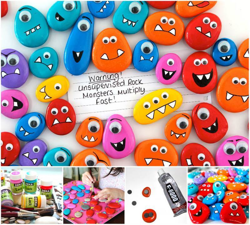 Creative Ideas – DIY Funny Painted Rock Monster Magnets