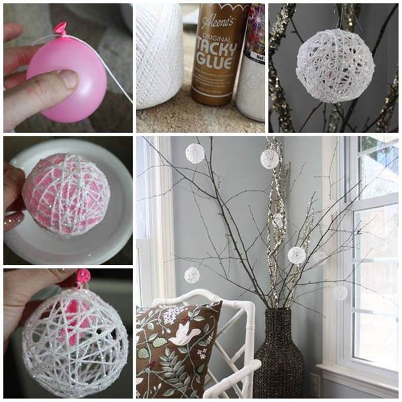 Creative Ideas - DIY Glittery Snowball Christmas Ornaments