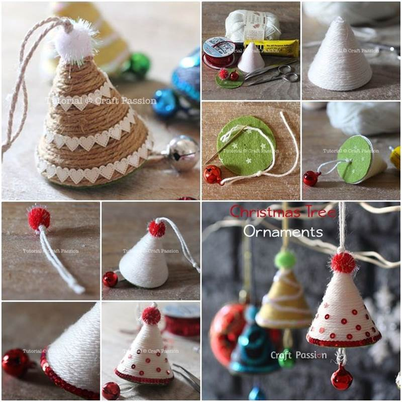 Creative Ideas - DIY Adorable Christmas Tree Ornaments with Yarn or Twine