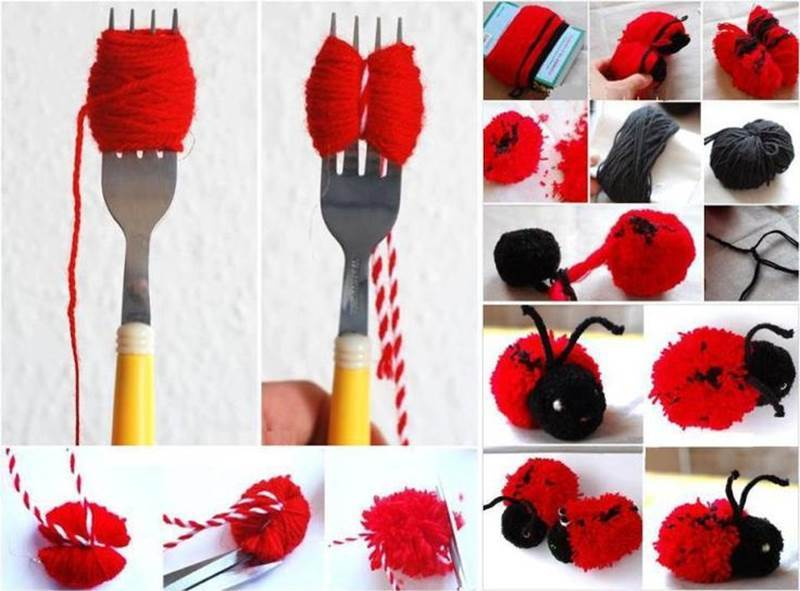 Creative Ideas - DIY Adorable Pompom Yarn Ladybug