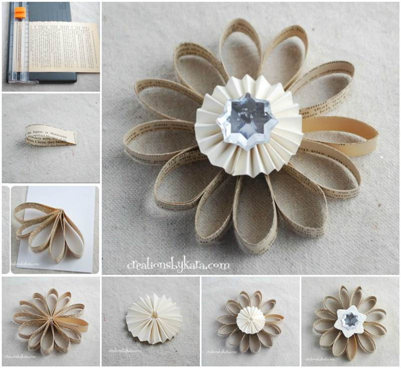Creative Ideas - DIY Book Page Flower Christmas Ornament