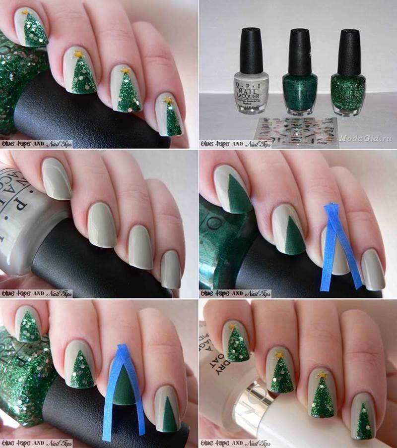 creative ideas diy christmas tree nail art