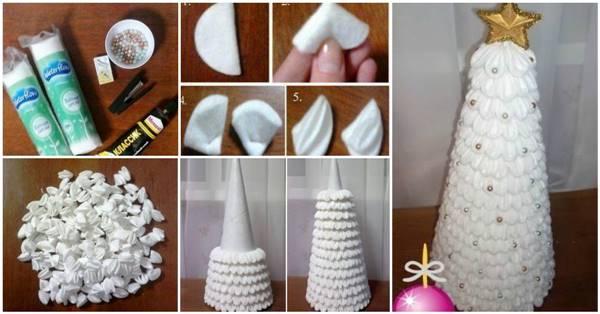 Creative Ideas Diy Cotton Pad Christmas Tree