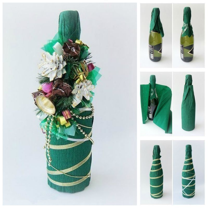 Creative ideas diy decorated holiday champagne bottle for Christmas bottle decorations
