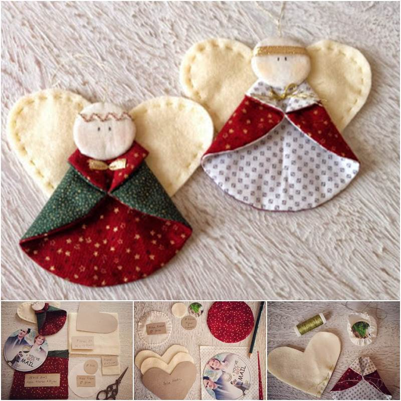 Creative Ideas - DIY Fabric Angel Christmas Ornaments