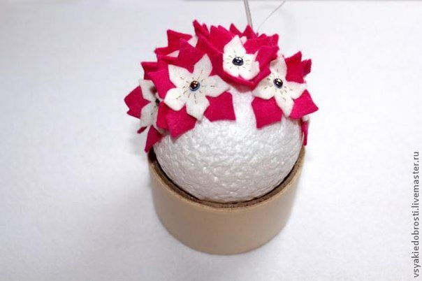 Creative Ideas - DIY Felt Flower Christmas Ball Ornament