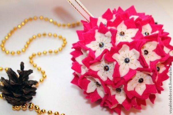 Creative Ideas Diy Felt Flower Christmas Ball Ornament