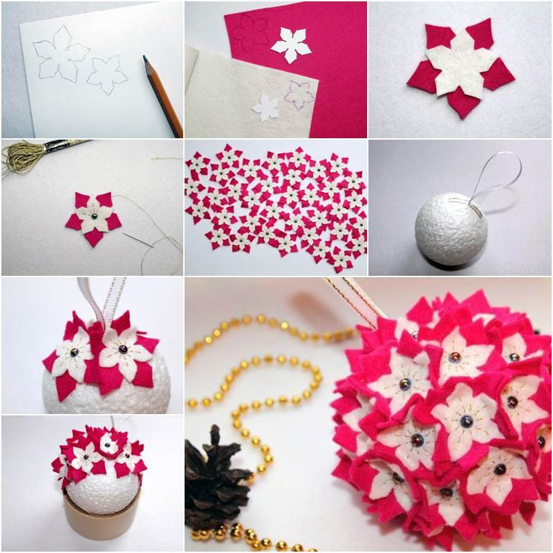 creative ideas diy felt flower christmas ball ornament - Christmas Ball Decoration Ideas