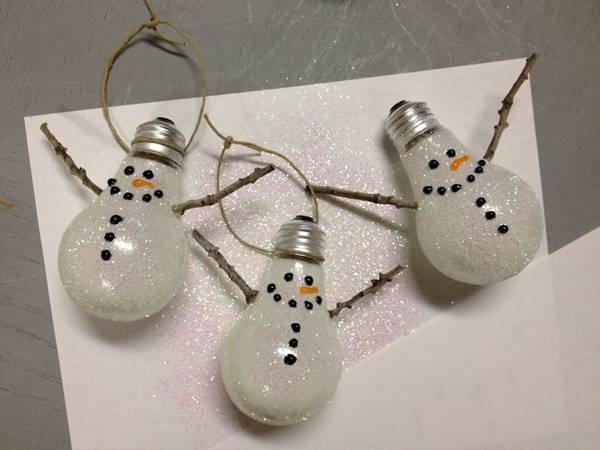 Creative Ideas - DIY Light Bulb Christmas Ornaments --> Snowman Ornament