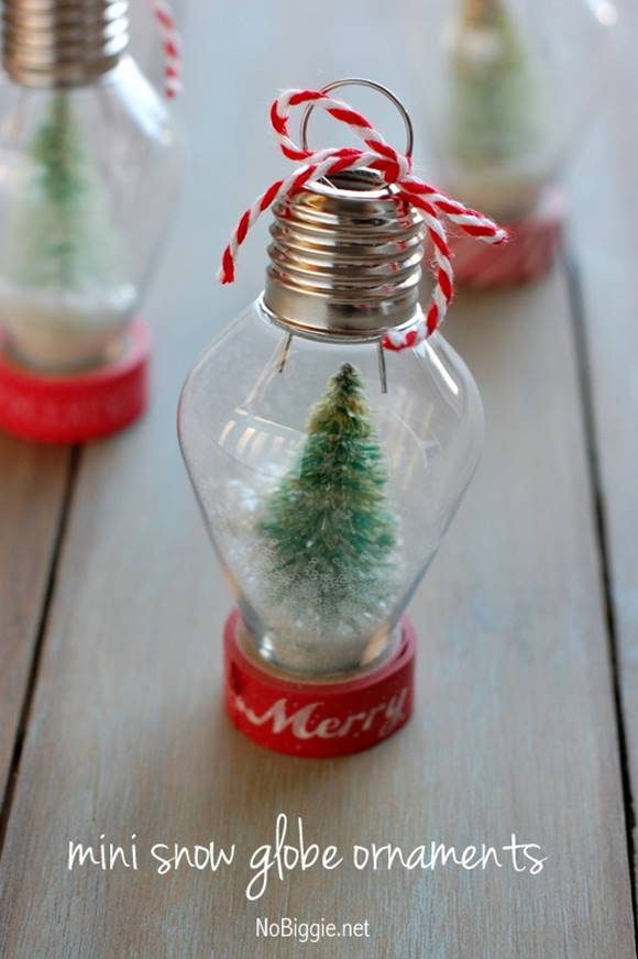 Creative Ideas - DIY Light Bulb Christmas Ornaments --> DIY Mini Snow Globe Ornament