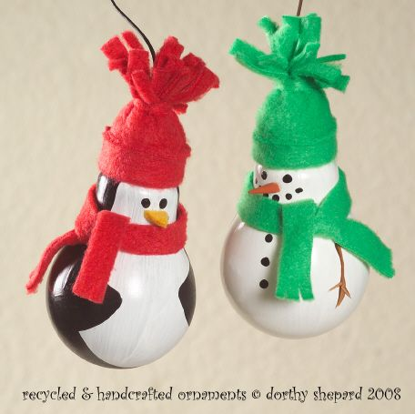 Light Bulb Reindeer Craft - - Use these free directions and pattern to create a reindeer Christmas tree ornament using an old light bulb. Light Bulb Santa - - This recycled Light Bulb Santa craft is sure to brighten someone's day. A great Christmas ornament for kids to make and give regfree.ml