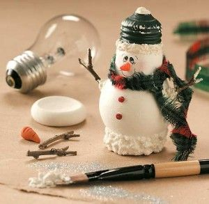 Creative Ideas - DIY Light Bulb Christmas Ornaments --> Light Bulb Snowman Craft