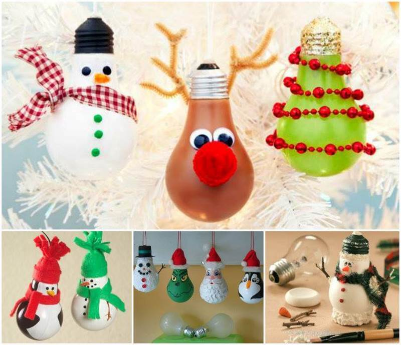 creative ideas diy light bulb christmas ornaments - Christmas Bulb Decorations