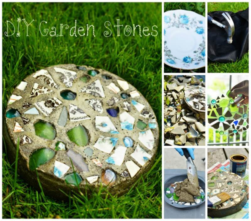Creative Ideas - DIY Mosaic Garden Stepping Stone with a Cake Pan