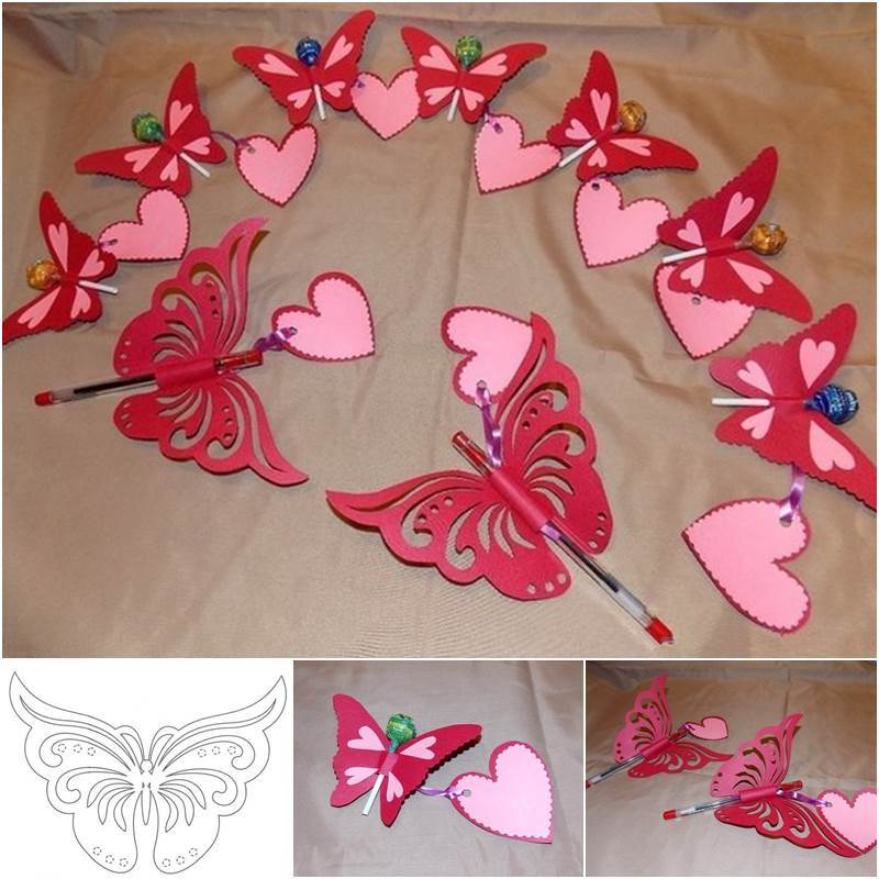 Creative Ideas - DIY Pretty Kirigami Butterfly Postcard from Template